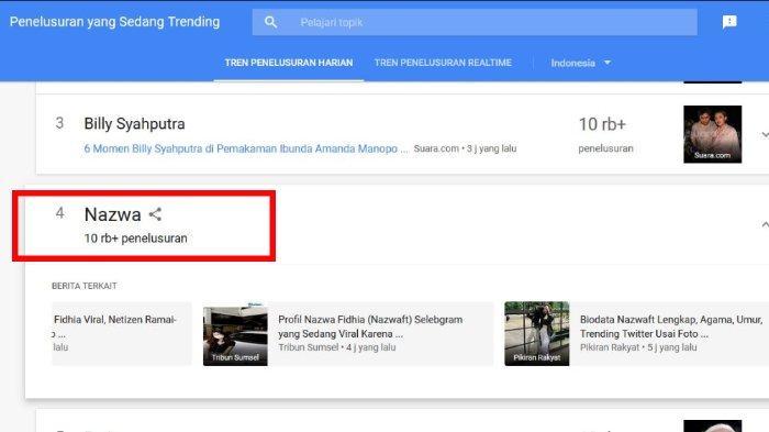 Nazwa menduduki peringkat ke-4 trending Google hari ini, Selasa (27/7/2021).