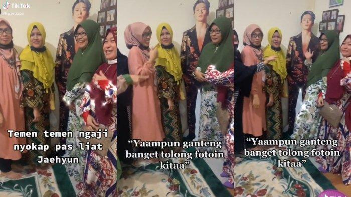 VIRAL Video Ibu-ibu Pengajian Berfoto dengan Stand Figure Jaehyun NCT, Ingin Berfoto karena Tampan