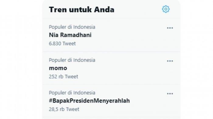 Nia Ramadhani jadi Trending Topic nomor 1 di Twitter.