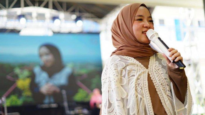 Nissa Sabyan di acara Humanity Concert di Syafana Islamic School, Tangerang, Banten, Sabtu (31/08/2019).
