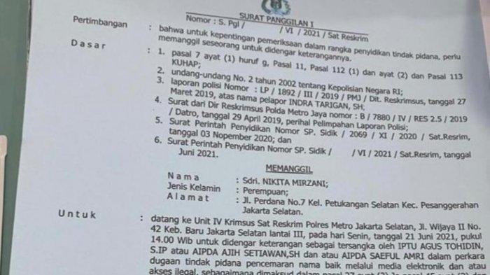 Surat Panggilan 1 yang dilayangkan pihak Polres Metro Jakarta Selatan terhadap artis Berinisial NM atas kasus dugaan pencemaran nama baik