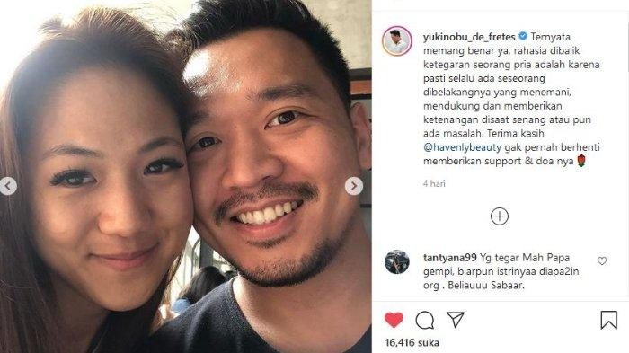 Nobu membagikan potret dirinya dengan wanita bernama Lidya Windasari di akun Instagram pribadinya @yukinobu_de_fretes Rabu (4/8/2021).