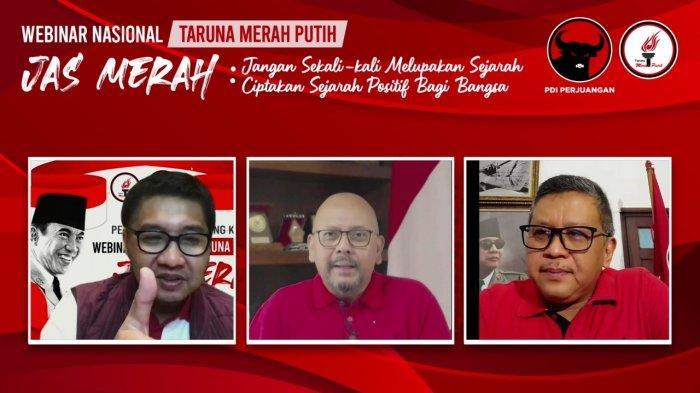 Maruarar Sirait, Cheppy Wartono, dan Hasto Kristiyanto pada   webinar yang diselenggarakan TMP untuk memperingati Bulan Bung Karno, Minggu  (28/6/2020) malam.