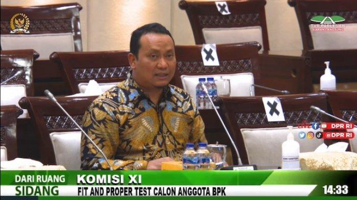 Nyoman Adhi Suryadnyana saat uji kelayakan dan kepatutan Calon Anggota BPK di Komisi XI, Rabu (8/9/2021).