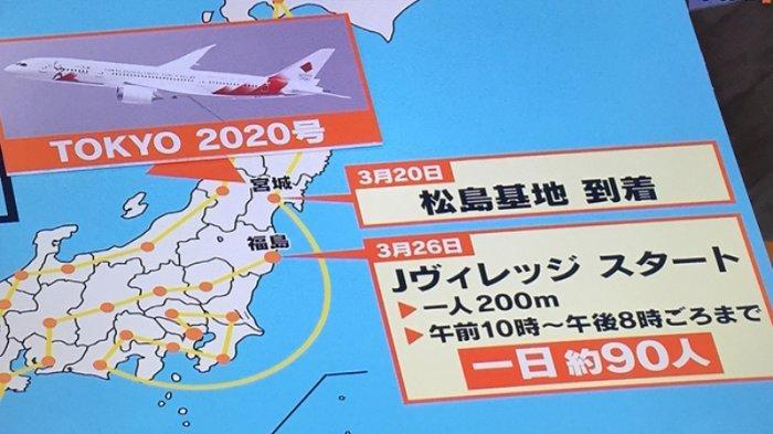 Pesawat Tokyo 2020 khusus dari pasukan udara beladiri Jepang (JASDF) yang akan membawa api Olimpiade dari Yunani dan tiba di pangkalan angkatan udara Matsushima perfektur Miyagi 20 Maret 2020.