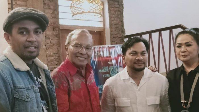 Glenn Fredly, Tompi dan Vina Panduwinata  hadir saat konfrensi pers 80 tahun penyanyi Bob Tutupoly di bilangan Blok M, Jakarta Selatan, Senin (25/11/2019).