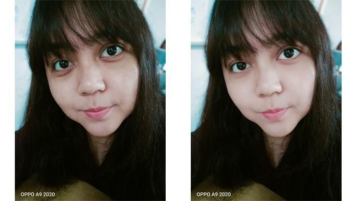 Hasil foto selfie tanpa dan menggunakan fitur AI Beautification.