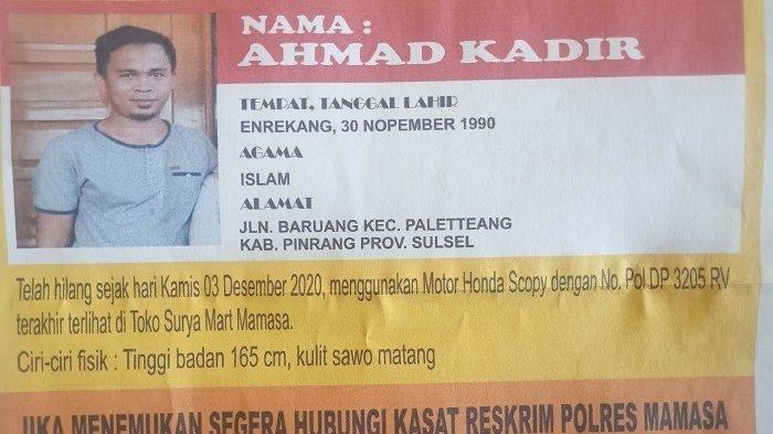 Seorang Sales Dikabarkan Menghilang Saat Berada di Kabupaten Mamasa