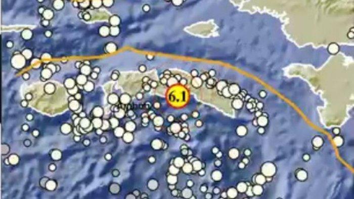 Peta lokasi gempa Maluku Tengah, Rabu (16/6/2021)
