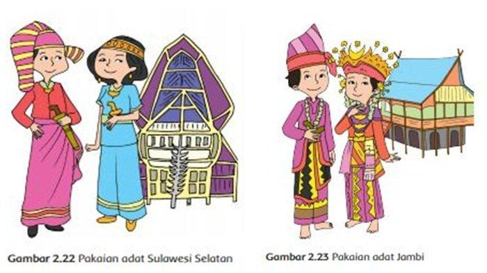 Pakaian Adat Sulawesi Selatan dan Jambi, Buku Tematik Tema 7 Kelas 4 SD.