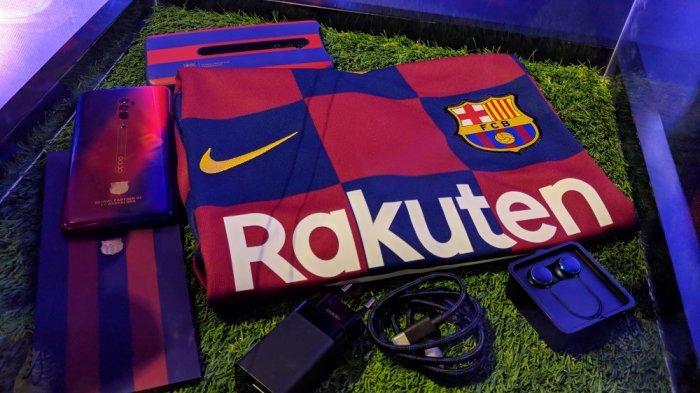 Paket penjualan Oppo Reno 10x Zoom FC Barcelona Limited Edition.