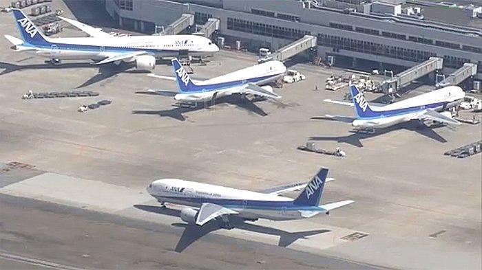 Pangkalan pesawat All Nippon Airways (ANA) di Bandara Haneda Tokyo, Jepang. (Koresponden Tribunnews.com/Richard Susilo)