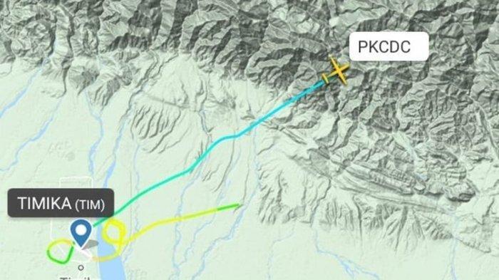 Pantauan flight radar pesawat twinotter milik Rimbun Air yang dinyatakan hilang kontak pada pukul 11.50 WIT. Pesawat tersebut hilang kontak ketika sedang menempuh penerbangan dengan rute Mimika-Puncak, Papua, Rabu (18/9/2019)