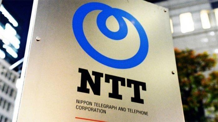 Papan nama NTT di kantornya di Tokyo.