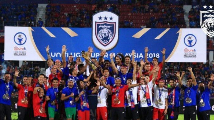 Para pemain Johor Darul Takzim merayakan gelar juara Liga Super Malaysia 2018.