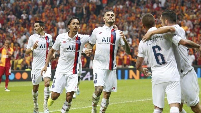 Para Pemain PSG merayakan gol Mauro Icardi ke gawang Galatasaray (@PSG_Inside)