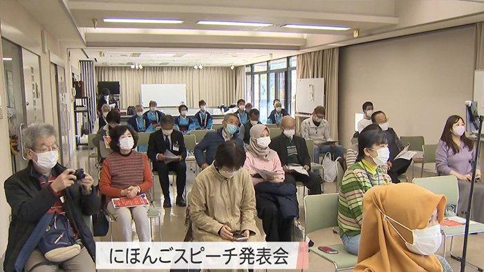 Para peserta kontes bahasa Jepang di Kota Takamatsu, Kagawa, Jepang, Minggu (14/2/2021).