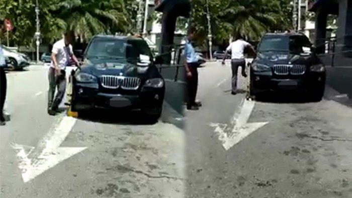 Parkir Sembarangan, Pria Ngamuk Patahkan Gembok Ban Mobil Mewahnya dalam Waktu Singkat