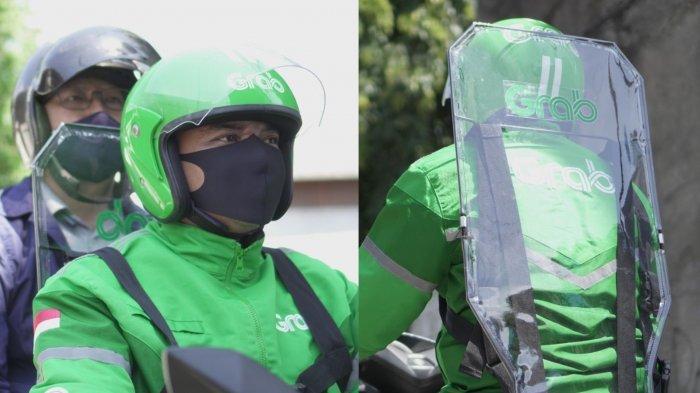 Partisi plastik yang lindungi penumpang saat naik ojek online.