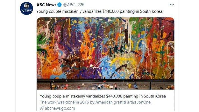 Pasangan di Korea Coret-coret Lukisan Seharga Rp 6,4 Miliar, Mengira Publik Boleh Ikut Menggambar