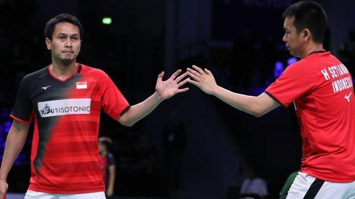 Pasangan ganda putra Indonesia, Mohammad Ahsan/Hendra Setiawan, menjalani laga babak kedua Denmark Open 2019 di Odense Sportspark, Kamis (17/10/2019).