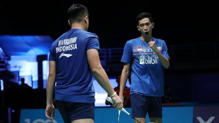 Pasangan ganda putra Wahyu Nayaka Arya Pangkaryanira/Ade Yusuf Santoso berhasil lolos ke babak dua Malaysia Open 2019, Selasa (2/4/2019).