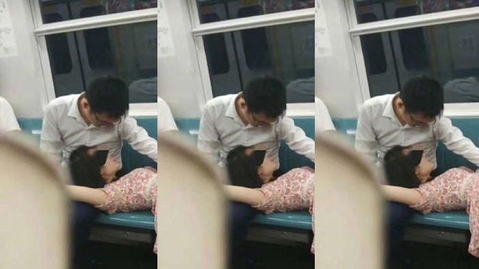 Kelakuan Mesum Pasangan ini Buat Penumpang Kereta Risih, Tangan Pria Pegangi Bagian Sensitif Wanita