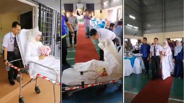 Pasangan pengantin membuat heboh lantaran gunakan jasa ambulans di pesta pernikahannya (Tangkap Layar Facebook page, Jengka Today.)