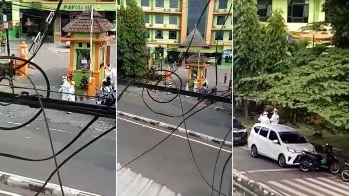Tangkapan layar video viral yang beredar luas di media sosial ketika beberapa orang memakai APD mengejar seseorang yang diduga pasien Covid-19 yang kabur diduga berlokasi di RSSA Malang, Rabu (15/7/2020).