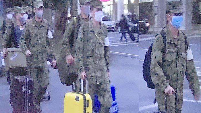 Para anggota pasukan beladiri Jepang (SDF) yang tiba di Miyakojima Okinawa, Minggu (31/1/2021).