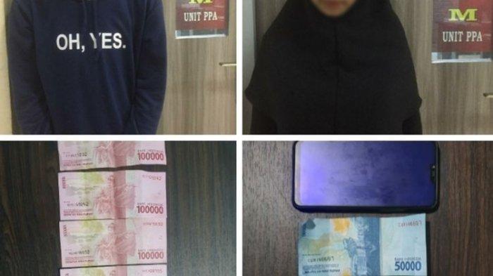 Pasutri tersangka muncikari prostitusi online, TFA dan AW diamankan bersama barang bukti di Satreskrim Polres Kepulauan Meranti, Riau, Senin (25/1/2021).