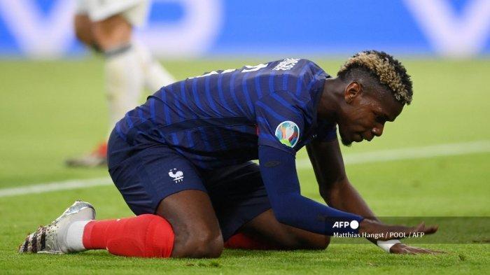 Gelandang Prancis Paul Pogba bereaksi selama pertandingan sepak bola Grup F UEFA EURO 2020 antara Prancis dan Jerman di Allianz Arena di Munich pada 15 Juni 2021.