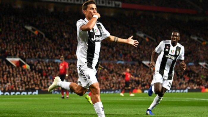 Paulo Dybala usai jebol gawang Manchester United, Rabu dini hari (24/10/2018)