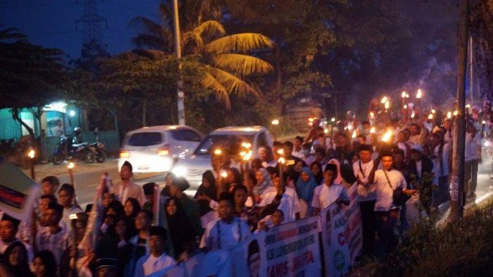 H-9Di Karawang Aksi Long March Cak Imin For Wapres 2019 Disambut Pawai Obor