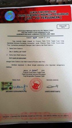 Foto surat keputusan PDI Perjuangan