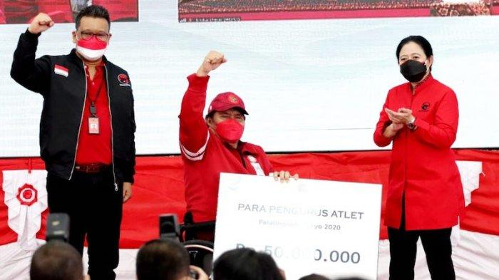 Acara pemberian apresiasi kepada atlet-atlet Paralimpiade (Paralympic Games) Tokyo 2020 di kantor DPP PDI Perjuangan (PDIP), Jalan Diponegoro, Jakarta, Jumat (24/9/2021).