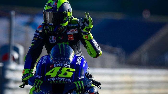 Pebalap Monster Energy Yamaha, Valentino Rossi, pada balapan GP Portugal di Sirkuit Algavre, Minggu (22/11/2020).