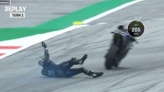 Pebalap Yamaha Monster Energy, Maverick Vinales, menjatuhkan diri saat mengalami insiden rem blong di GP Styria 2020 di Sirkuit Red Bull Ring pekan lalu.