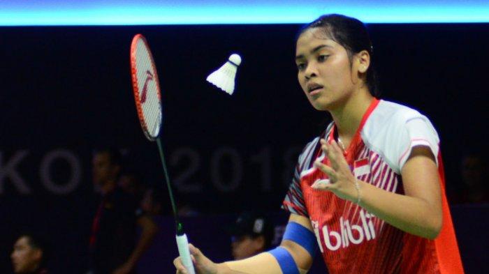 Pebulutangkis tunggal putri Indonesia, Gregoria Mariska Tunjung, saat menghadapi Gao Fangjie (China) dalam pertandingan fase Grup D Piala Uber 2018 antara Indonesia dan China, di Impact Arena, Bangkok, Thailand, Kamis (23/5/2018).