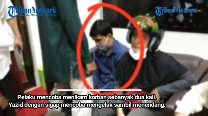Pelaku penusukan (Tangkap layar channel YouTube Tribun Pekanbaru Official)