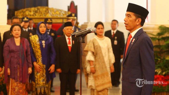Presiden Joko Widodo memimpin pelantikan Menteri Kabinet Indonesia Maju di Istana Negara, Jakarta, Rabu (23/10/2019). Presiden Joko Widodo resmi melantik 34 Menteri, 3 Kepala Lembaga Setingkat Menteri, dan Jaksa Agung untuk Kabinet Indonesia Maju.