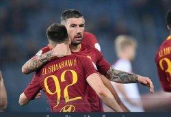 Pemain AS Roma, Stephan El Shaarawy dan Aleksandar Kolarov.