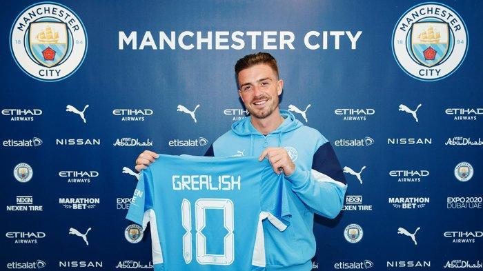 Pemain baru Manchester City yang didatangkan dari Aston Villa, Jack Grealish dan jadi pemain termahal Liga Inggris saat ini.