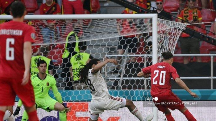 Hasil Babak I Denmark vs Belgia Euro 2020, Gol Cepat Poulsen Buyarkan Konsentrasi Belgia, Skor 1-0