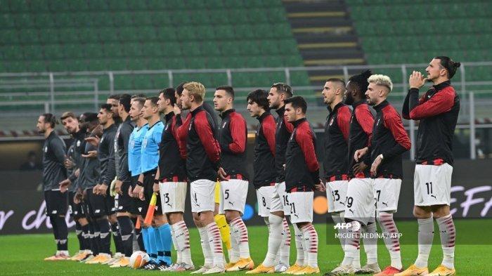 Pemain Lille dan AC Milan digambarkan sebelum pertandingan sepak bola Grup H babak pertama Liga Eropa UEFA hari ketiga antara AC Milan dan Lille di stadion Meazza di Milan pada 5 November 2020. MIGUEL MEDINA / AFP