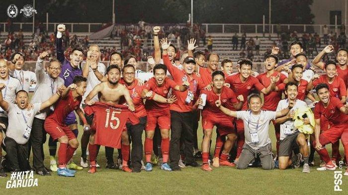 Pemain Timnas Indonesia U-23 Rayakan kemenangan melawan Myanmar sekaligus pastikan Final SEA Games 2019 (@officialpssi)