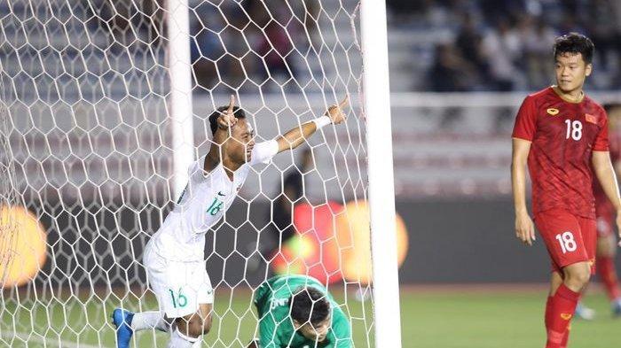 Selebrasi gol pemain timnas Indonesia U-23, Sani Rizky Fauzi, ke gawang Vietnam.
