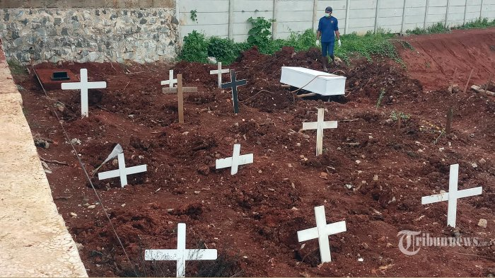 Penggali makam TPU Jombang, Ciputat, Kota Tangerang Selatan, sedang menguburkan jenazah Covid-19, Selasa (26/1/2021). Untuk mengantisipasi keterbatasan lahan di tengah melonjaknya jenazah Covid-19, pihak TPU Jombang membuka lahan baru dengan menyediakan 500 liang lahat. (WARTAKOTA/Nur Ichsan)