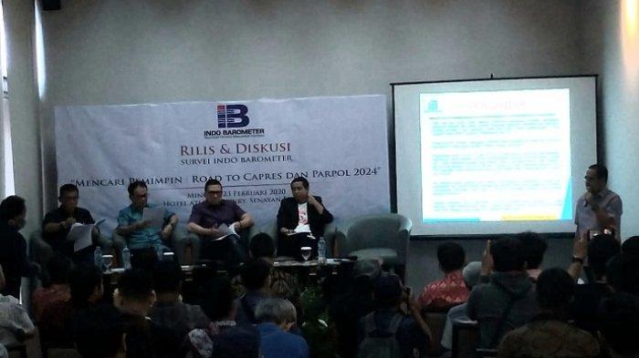 Pemaparan hasil Survei Nasional Mencari Pemimpin: Road to Capres dan Parpol 2024, di Hotel Century Park, Senayan, Jakarta, Minggu (23/2/2020) siang.