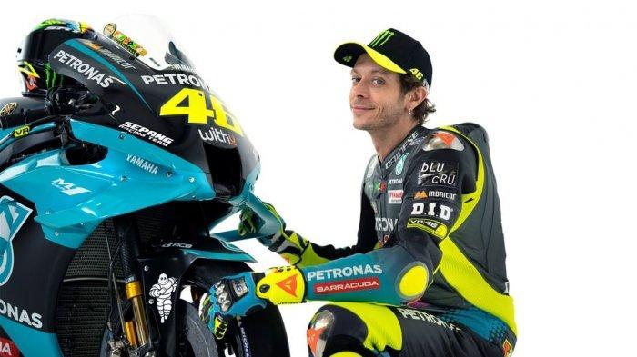 Pembalap MotoGP asal Italia, Valentino Rossi saat launching bersama Yamaha Petronas SRT, Senin (1/3/2021) WIB.